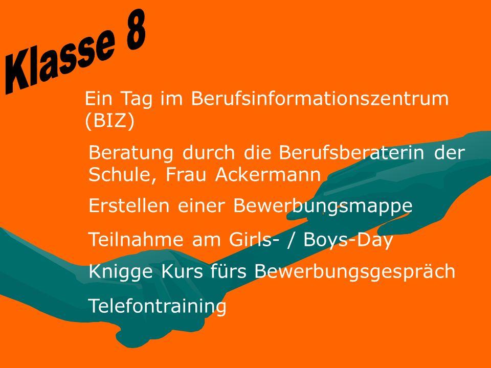 Ein Tag im Berufsinformationszentrum (BIZ) Beratung durch die Berufsberaterin der Schule, Frau Ackermann Erstellen einer Bewerbungsmappe Teilnahme am
