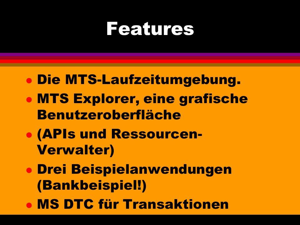 Features l Die MTS-Laufzeitumgebung.