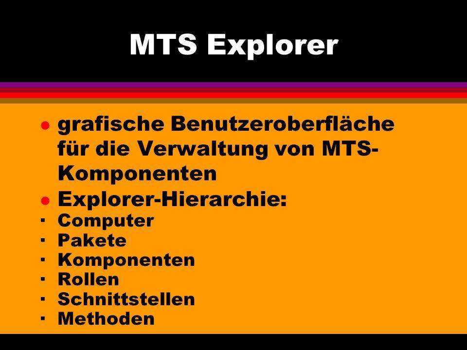 MTS Explorer l grafische Benutzeroberfläche für die Verwaltung von MTS- Komponenten l Explorer-Hierarchie: ·Computer ·Pakete ·Komponenten ·Rollen ·Schnittstellen ·Methoden