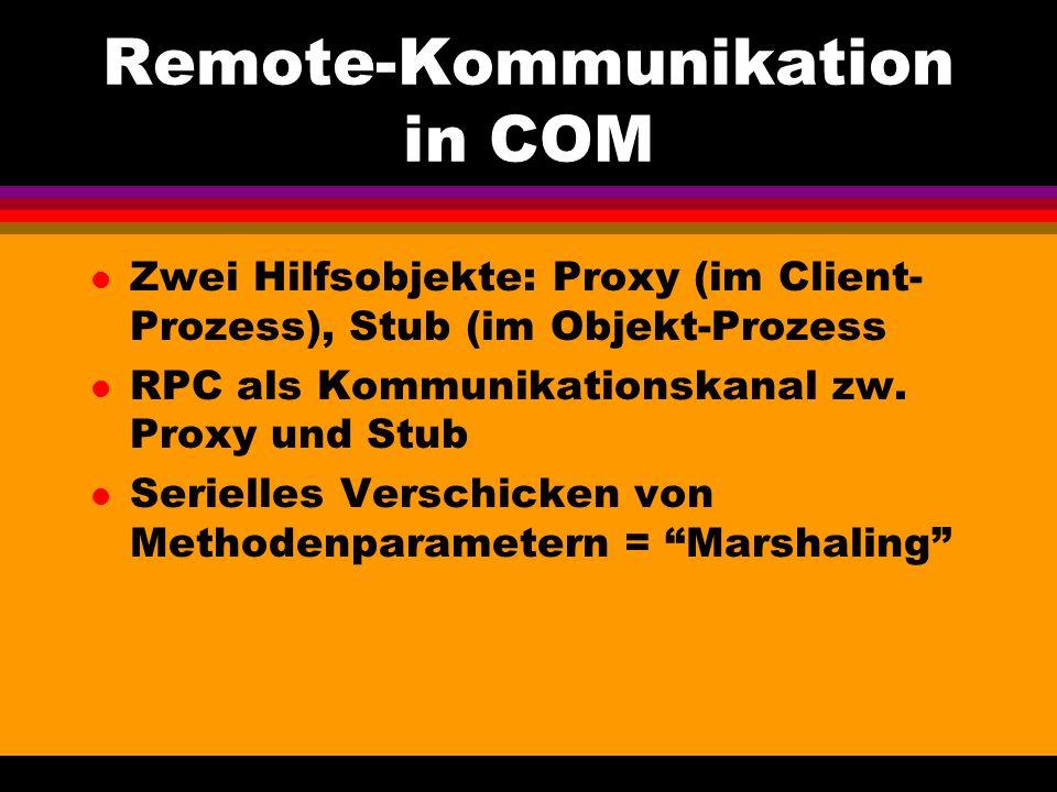Remote-Kommunikation in COM l Zwei Hilfsobjekte: Proxy (im Client- Prozess), Stub (im Objekt-Prozess l RPC als Kommunikationskanal zw.