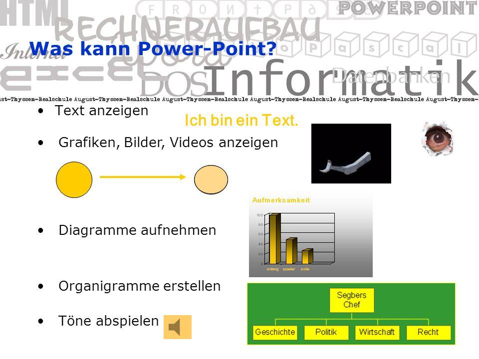 Die PowerPoint-Ansichten (4) Notizblattansicht: Anzeige des Folienbilds und eines Platzhalters für Notizen des Vortragenden Folienbild kann auch in dieser Ansicht normal bearbeitet werden (wie in der Folienansicht)