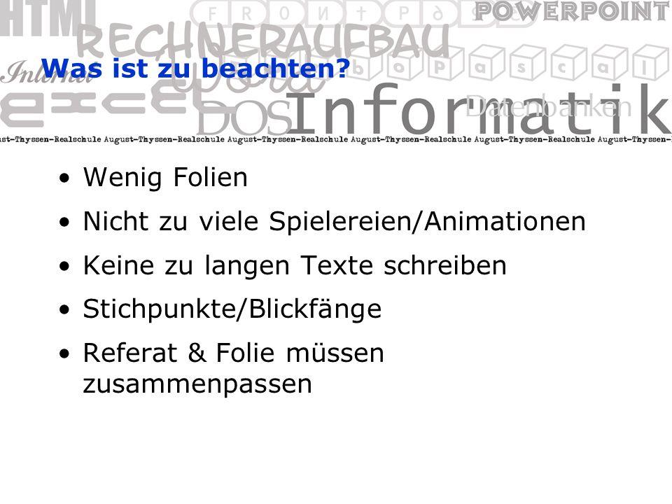 Formatieren von Text Symbole der Format-Symbolleiste: –Schriftart-, größe, -stil, -farbe –Ausrichtung, Aufzählungszeichen –Einzüge (Höher-/Tieferstufen) Menü Format: –Zeilen- und Absatzabstände –Hintergründe