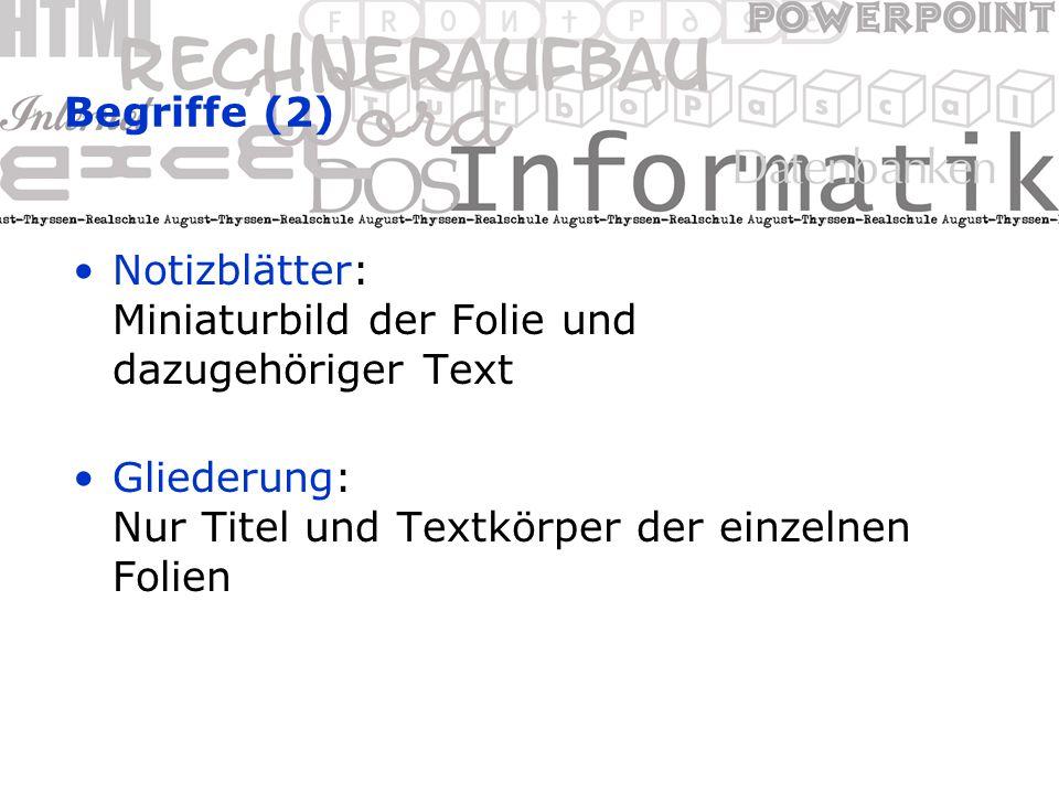 Begriffe (2) Notizblätter: Miniaturbild der Folie und dazugehöriger Text Gliederung: Nur Titel und Textkörper der einzelnen Folien