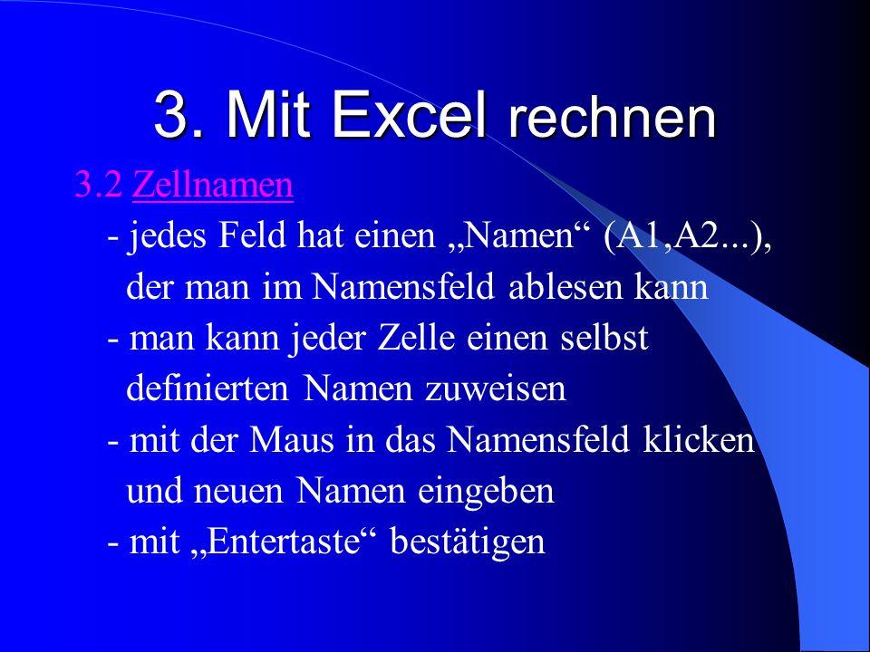 3. Mit Excel rechnen 3.2 Zellnamen - jedes Feld hat einen Namen (A1,A2...), der man im Namensfeld ablesen kann - man kann jeder Zelle einen selbst def
