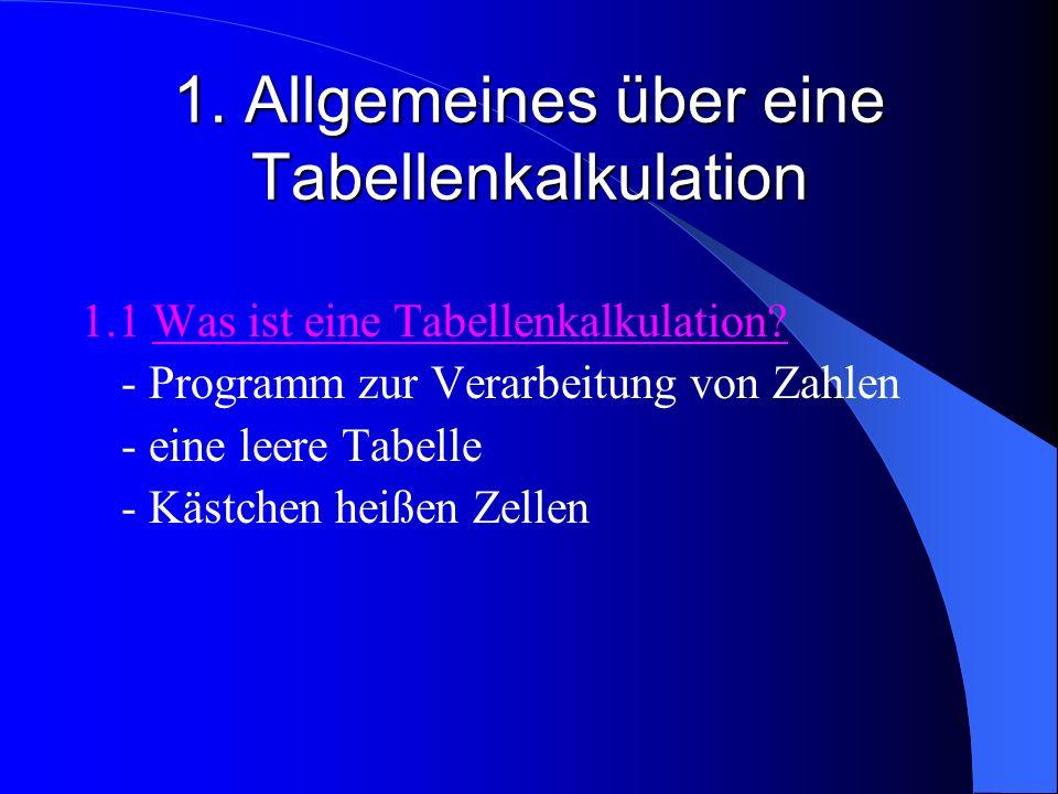 1. Allgemeines über eine Tabellenkalkulation 1.1 Was ist eine Tabellenkalkulation? - Programm zur Verarbeitung von Zahlen - eine leere Tabelle - Kästc