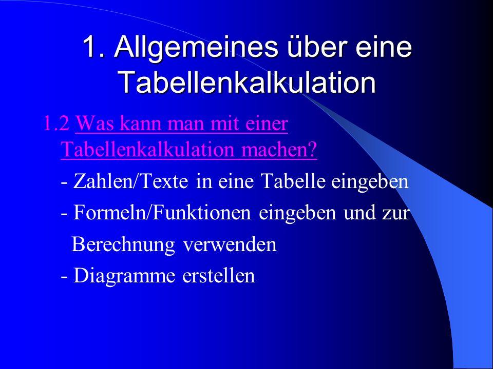 1. Allgemeines über eine Tabellenkalkulation 1.2 Was kann man mit einer Tabellenkalkulation machen? - Zahlen/Texte in eine Tabelle eingeben - Formeln/
