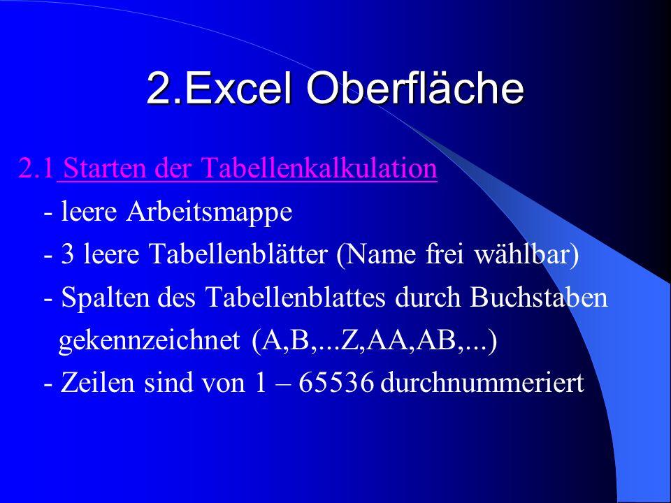 2.Excel Oberfläche 2.1 Starten der Tabellenkalkulation - leere Arbeitsmappe - 3 leere Tabellenblätter (Name frei wählbar) - Spalten des Tabellenblatte