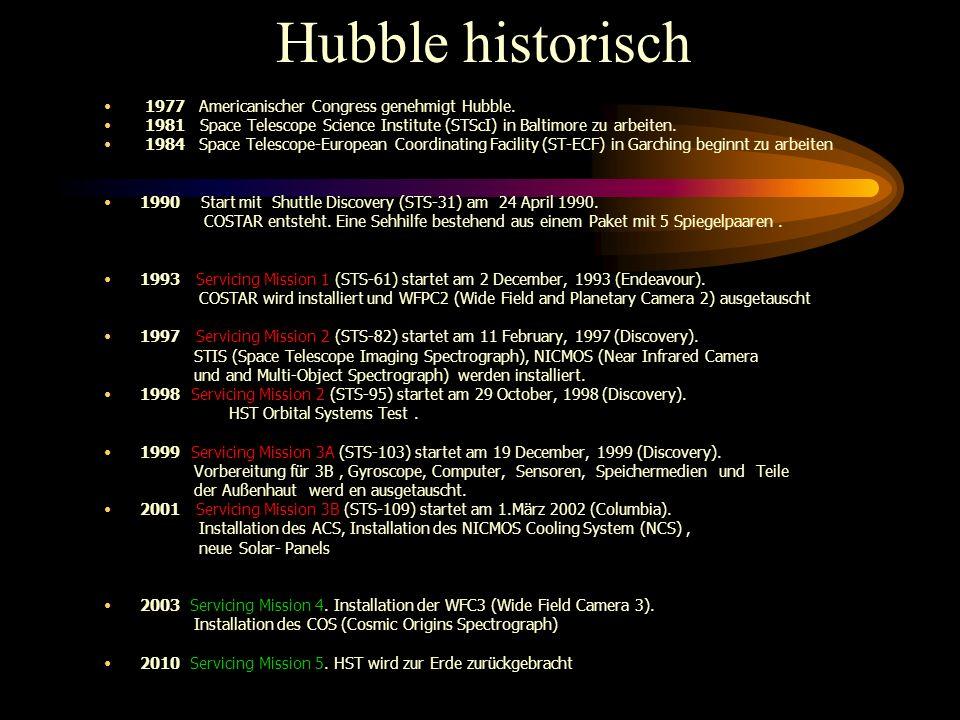 Gliederung des Vortrages Hubble Reparatur - und Wartungsphilosophie SM-1, SM-2 und SM-3A, und Ergebnisse SM-3B im März 2002, neue Ergebnisse Rezept fü