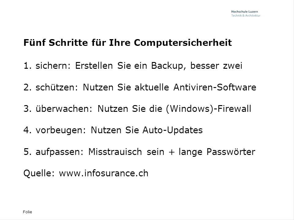 Folie Fünf Schritte für Ihre Computersicherheit 1.