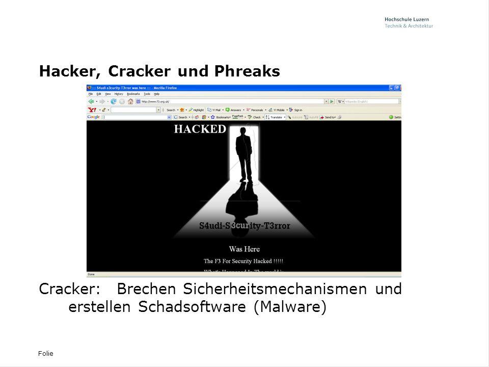 Folie Hacker, Cracker und Phreaks Phreaks:Hacken Telefonsysteme