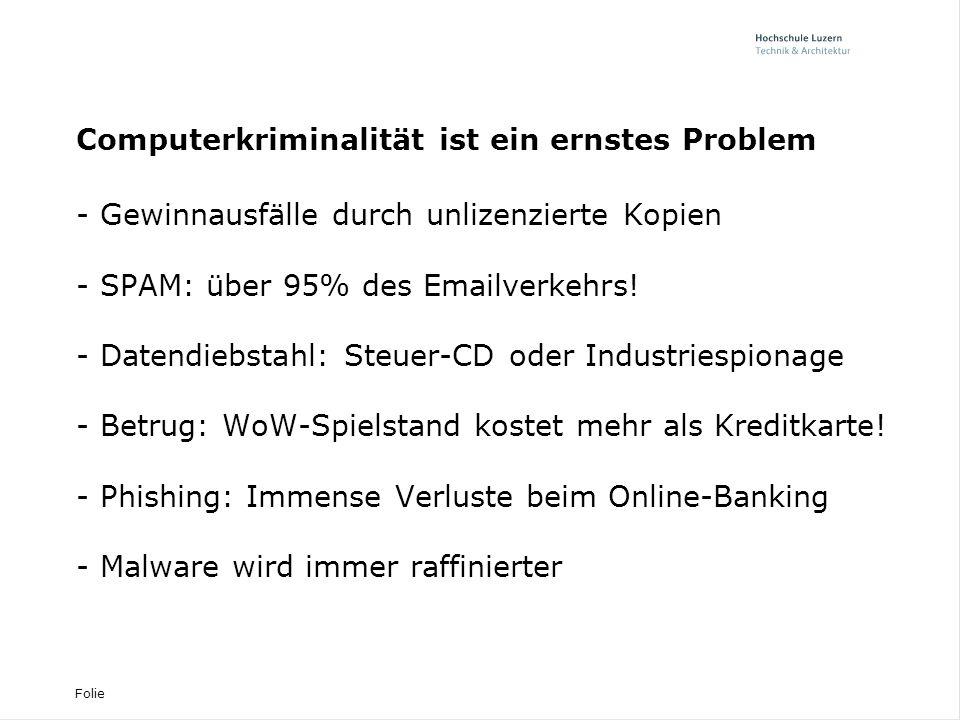 Folie Computerkriminalität ist ein ernstes Problem - Gewinnausfälle durch unlizenzierte Kopien - SPAM: über 95% des Emailverkehrs.