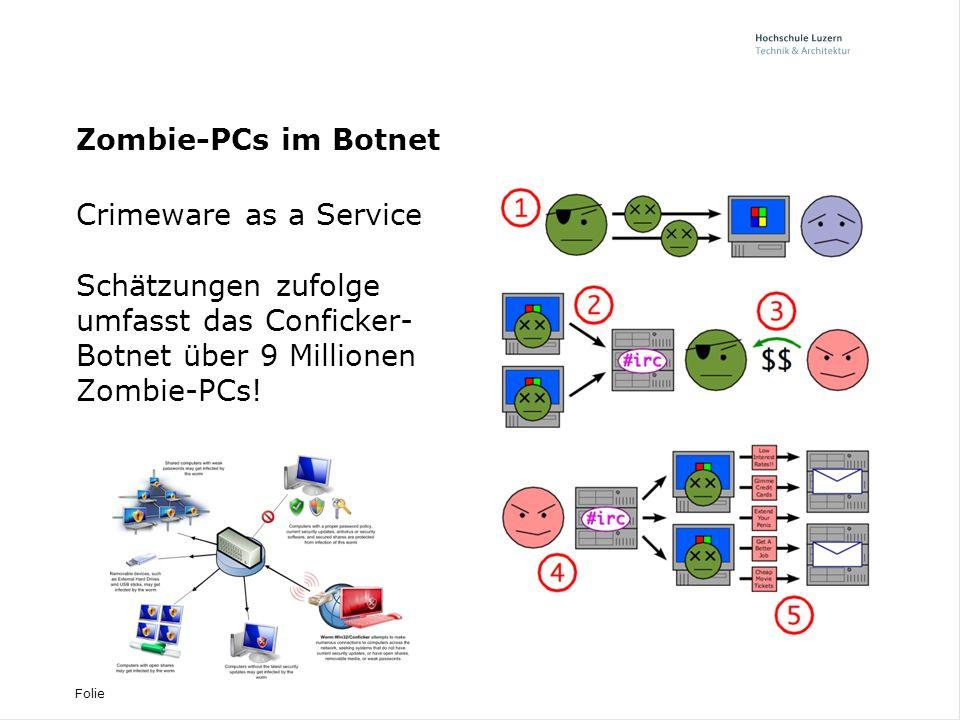 Folie Kriminelle organisieren sich EDA-Hack Oktober 2009 - Kompromittierter Server - BIT und MELANI hilft - Professionelle Malware - Keine Störfunktion - EDA vom Netz getrennt - Untersuchungsverfahren - Vorfälle häufen sich Trends und Vorfälle - DDoS gegen Konkurrenz - Vermeintliche Rechnung - Drive-By-Infections - Scareware - Ransomware - Skimming - Klima-Mails - Malware über soziale Netzwerke