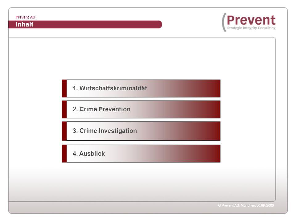 © Prevent AG, München, 30.09. 2006 Prevent AG 1. Wirtschaftskriminalität Inhalt 2. Crime Prevention 3. Crime Investigation 4. Ausblick