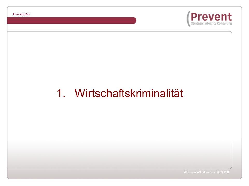 © Prevent AG, München, 30.09. 2006 Prevent AG 1. Wirtschaftskriminalität