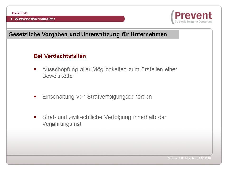 © Prevent AG, München, 30.09. 2006 Prevent AG Bei Verdachtsfällen Ausschöpfung aller Möglichkeiten zum Erstellen einer Beweiskette Einschaltung von St