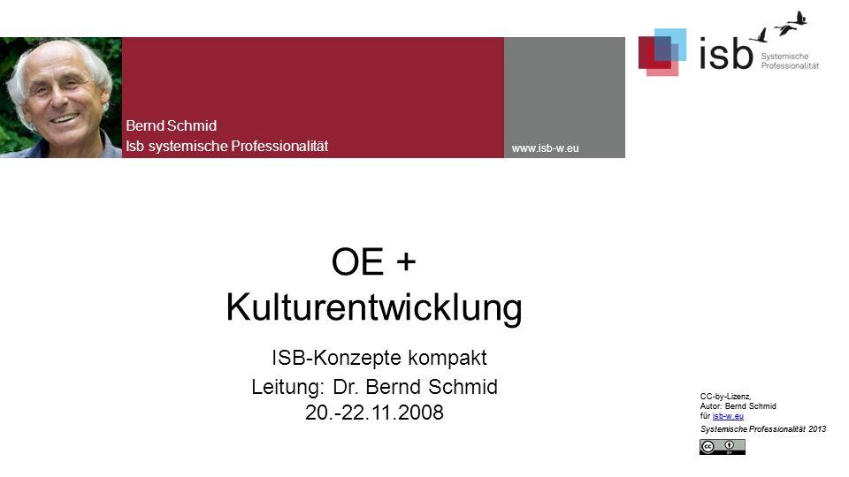 CC-by-Lizenz, Autor: Bernd Schmid für isb-w.euisb-w.eu Systemische Professionalität 2013 www.isb-w.eu OE + Kulturentwicklung ISB-Konzepte kompakt Leitung: Dr.