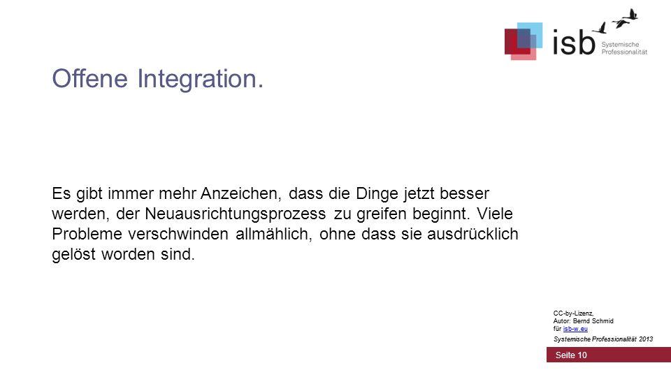 CC-by-Lizenz, Autor: Bernd Schmid für isb-w.euisb-w.eu Systemische Professionalität 2013 Seite 10 Offene Integration. Es gibt immer mehr Anzeichen, da
