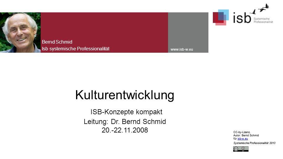 CC-by-Lizenz, Autor: Bernd Schmid für isb-w.euisb-w.eu Systemische Professionalität 2013 www.isb-w.eu Kulturentwicklung ISB-Konzepte kompakt Leitung: