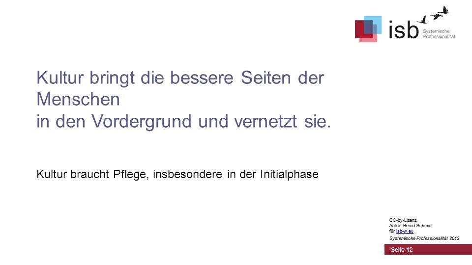 CC-by-Lizenz, Autor: Bernd Schmid für isb-w.euisb-w.eu Systemische Professionalität 2013 Seite 12 Kultur bringt die bessere Seiten der Menschen in den Vordergrund und vernetzt sie.