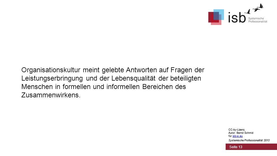 CC-by-Lizenz, Autor: Bernd Schmid für isb-w.euisb-w.eu Systemische Professionalität 2013 Seite 13 Organisationskultur meint gelebte Antworten auf Fragen der Leistungserbringung und der Lebensqualität der beteiligten Menschen in formellen und informellen Bereichen des Zusammenwirkens.