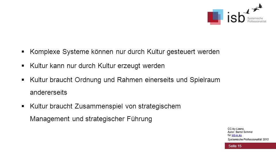 CC-by-Lizenz, Autor: Bernd Schmid für isb-w.euisb-w.eu Systemische Professionalität 2013 Seite 15 Komplexe Systeme können nur durch Kultur gesteuert w