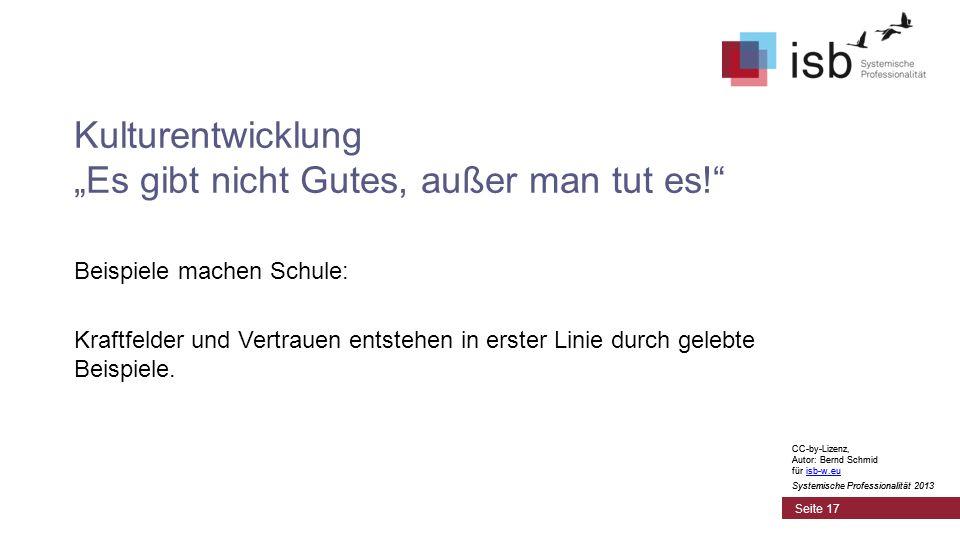 CC-by-Lizenz, Autor: Bernd Schmid für isb-w.euisb-w.eu Systemische Professionalität 2013 Seite 17 Kulturentwicklung Es gibt nicht Gutes, außer man tut es.