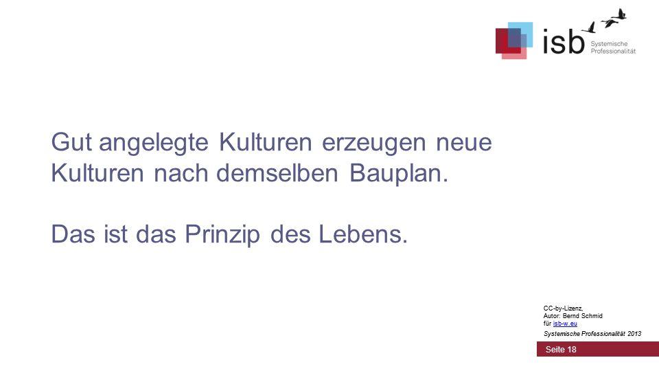 CC-by-Lizenz, Autor: Bernd Schmid für isb-w.euisb-w.eu Systemische Professionalität 2013 Seite 18 Gut angelegte Kulturen erzeugen neue Kulturen nach demselben Bauplan.