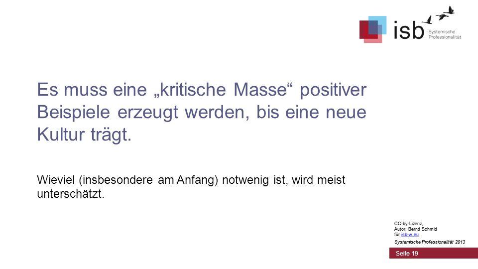 CC-by-Lizenz, Autor: Bernd Schmid für isb-w.euisb-w.eu Systemische Professionalität 2013 Seite 19 Es muss eine kritische Masse positiver Beispiele erzeugt werden, bis eine neue Kultur trägt.