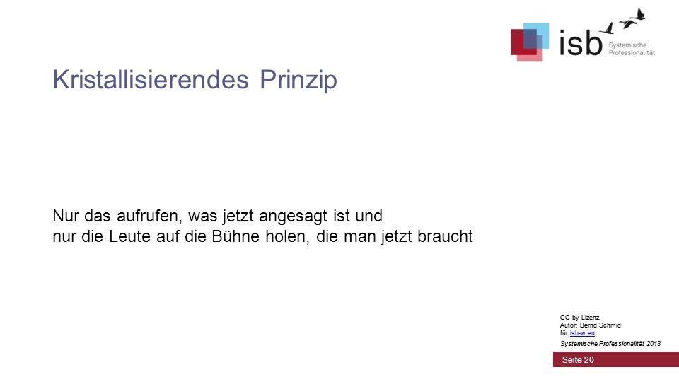 CC-by-Lizenz, Autor: Bernd Schmid für isb-w.euisb-w.eu Systemische Professionalität 2013 Seite 20 Kristallisierendes Prinzip Nur das aufrufen, was jetzt angesagt ist und nur die Leute auf die Bühne holen, die man jetzt braucht CC-by-Lizenz, Autor: Bernd Schmid für isb-w.euisb-w.eu Systemische Professionalität 2013