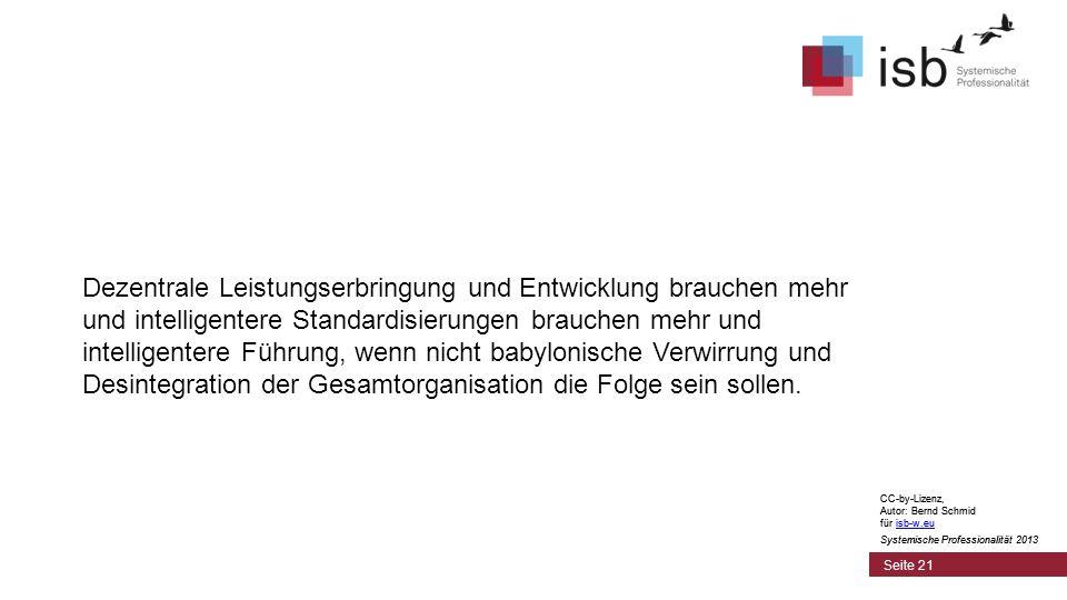 CC-by-Lizenz, Autor: Bernd Schmid für isb-w.euisb-w.eu Systemische Professionalität 2013 Seite 21 Dezentrale Leistungserbringung und Entwicklung brauc