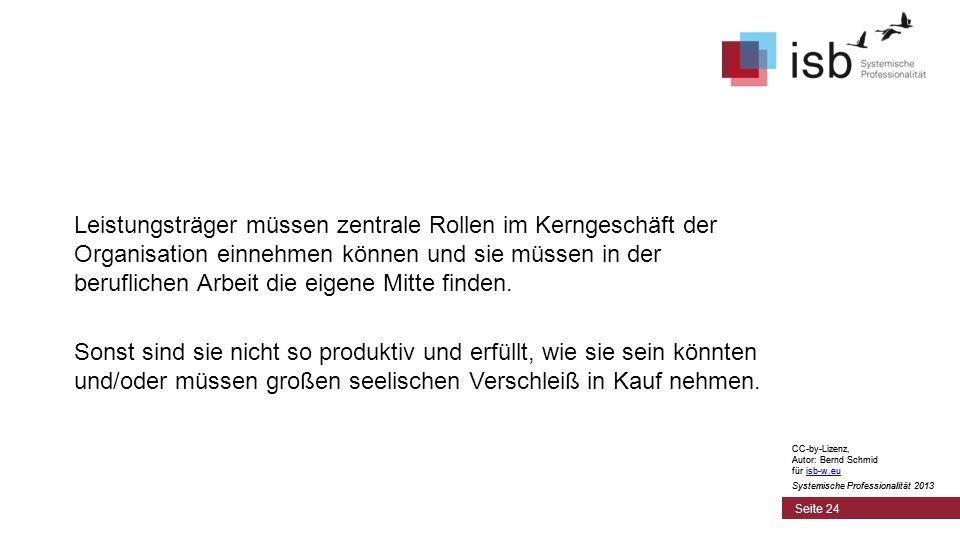 CC-by-Lizenz, Autor: Bernd Schmid für isb-w.euisb-w.eu Systemische Professionalität 2013 Seite 24 Leistungsträger müssen zentrale Rollen im Kerngeschäft der Organisation einnehmen können und sie müssen in der beruflichen Arbeit die eigene Mitte finden.