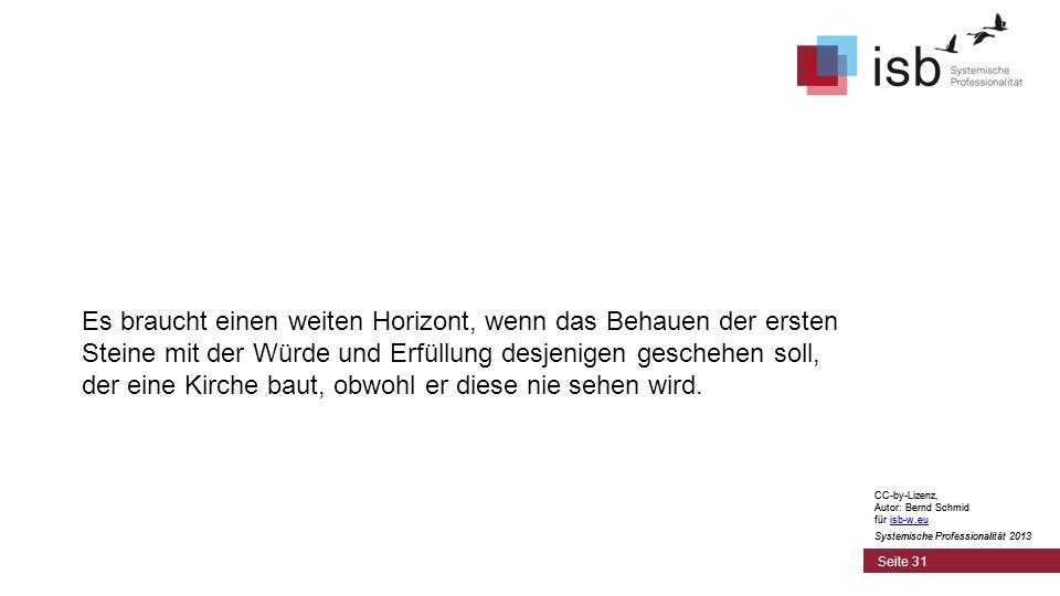 CC-by-Lizenz, Autor: Bernd Schmid für isb-w.euisb-w.eu Systemische Professionalität 2013 Seite 31 Es braucht einen weiten Horizont, wenn das Behauen d