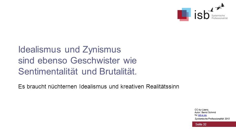 CC-by-Lizenz, Autor: Bernd Schmid für isb-w.euisb-w.eu Systemische Professionalität 2013 Seite 32 Idealismus und Zynismus sind ebenso Geschwister wie Sentimentalität und Brutalität.