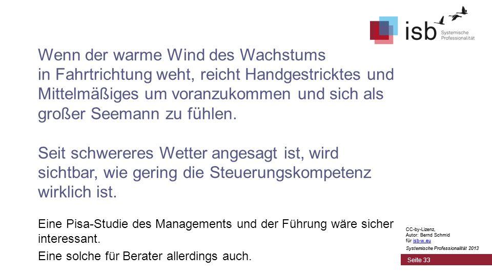 CC-by-Lizenz, Autor: Bernd Schmid für isb-w.euisb-w.eu Systemische Professionalität 2013 Seite 33 Wenn der warme Wind des Wachstums in Fahrtrichtung weht, reicht Handgestricktes und Mittelmäßiges um voranzukommen und sich als großer Seemann zu fühlen.