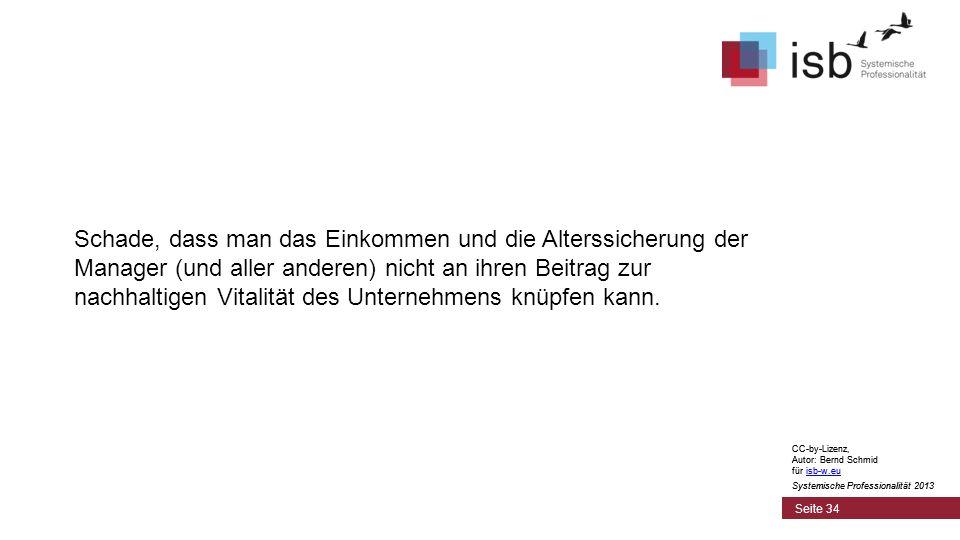 CC-by-Lizenz, Autor: Bernd Schmid für isb-w.euisb-w.eu Systemische Professionalität 2013 Seite 34 Schade, dass man das Einkommen und die Alterssicheru