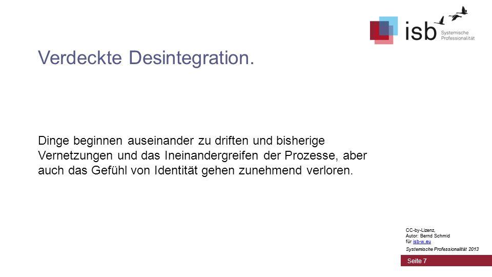CC-by-Lizenz, Autor: Bernd Schmid für isb-w.euisb-w.eu Systemische Professionalität 2013 Seite 7 Verdeckte Desintegration. Dinge beginnen auseinander
