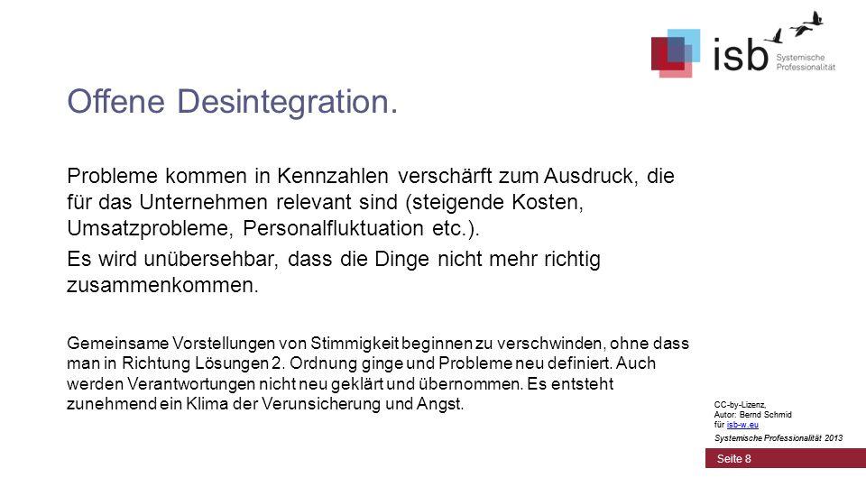 CC-by-Lizenz, Autor: Bernd Schmid für isb-w.euisb-w.eu Systemische Professionalität 2013 Seite 8 Offene Desintegration. Probleme kommen in Kennzahlen