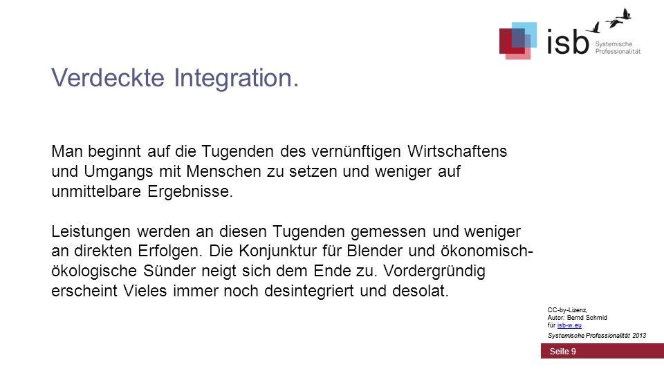 CC-by-Lizenz, Autor: Bernd Schmid für isb-w.euisb-w.eu Systemische Professionalität 2013 Seite 9 Verdeckte Integration. Man beginnt auf die Tugenden d