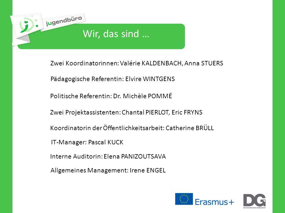 Wir, das sind … Zwei Koordinatorinnen: Valérie KALDENBACH, Anna STUERS Pädagogische Referentin: Elvire WINTGENS Politische Referentin: Dr. Michèle POM