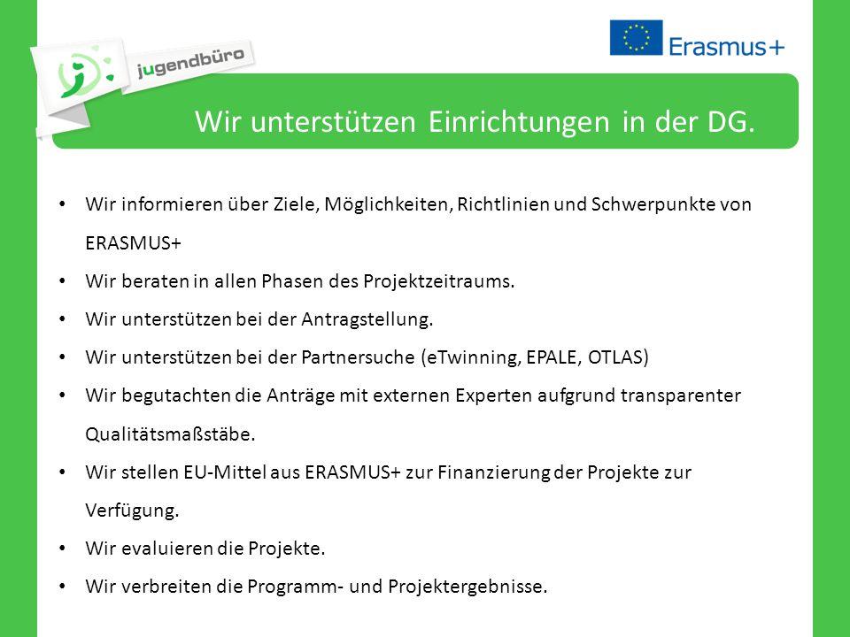 Wir unterstützen Einrichtungen in der DG. Wir informieren über Ziele, Möglichkeiten, Richtlinien und Schwerpunkte von ERASMUS+ Wir beraten in allen Ph