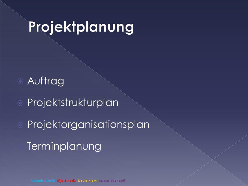 Auftrag Projektstrukturplan Projektorganisationsplan Terminplanung Melanie Schöfl, Elija Bincsik, David Klem, Teresa Skohautil