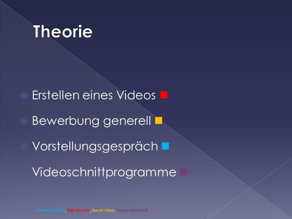 Erstellen eines Videos Bewerbung generell Vorstellungsgespräch Videoschnittprogramme Melanie Schöfl, Elija Bincsik, David Klem, Teresa Skohautil