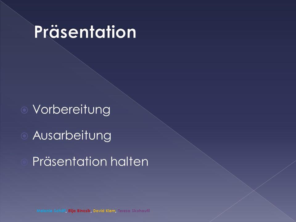 Vorbereitung Ausarbeitung Präsentation halten Melanie Schöfl, Elija Bincsik, David Klem, Teresa Skohautil