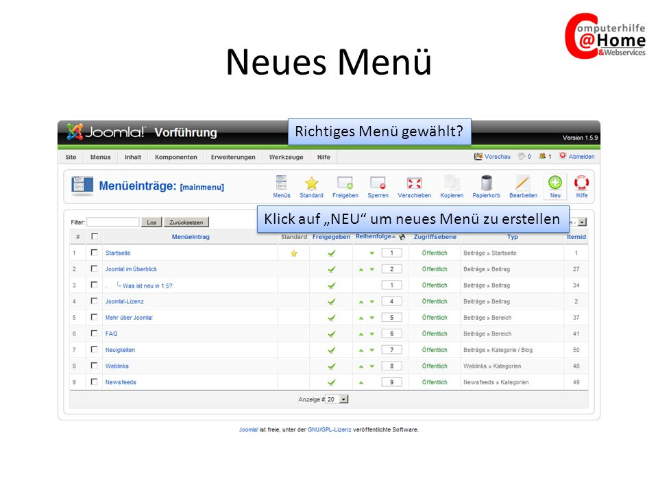 Neues Menü Richtiges Menü gewählt Klick auf NEU um neues Menü zu erstellen