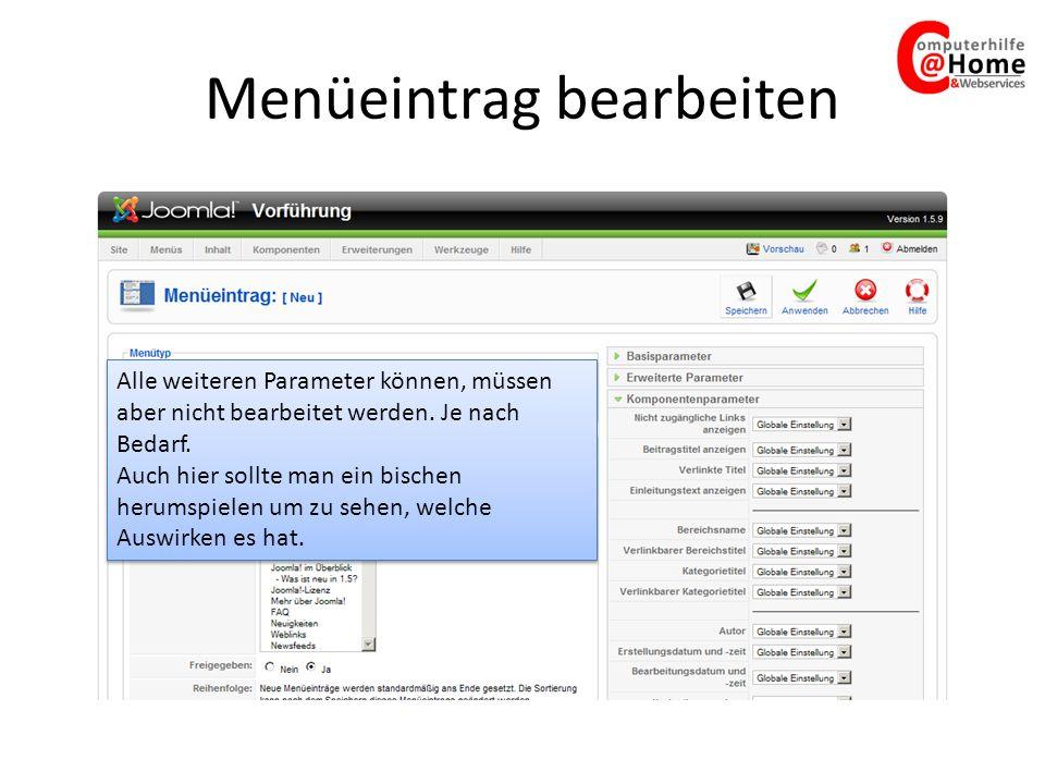 Menüeintrag bearbeiten Alle weiteren Parameter können, müssen aber nicht bearbeitet werden.
