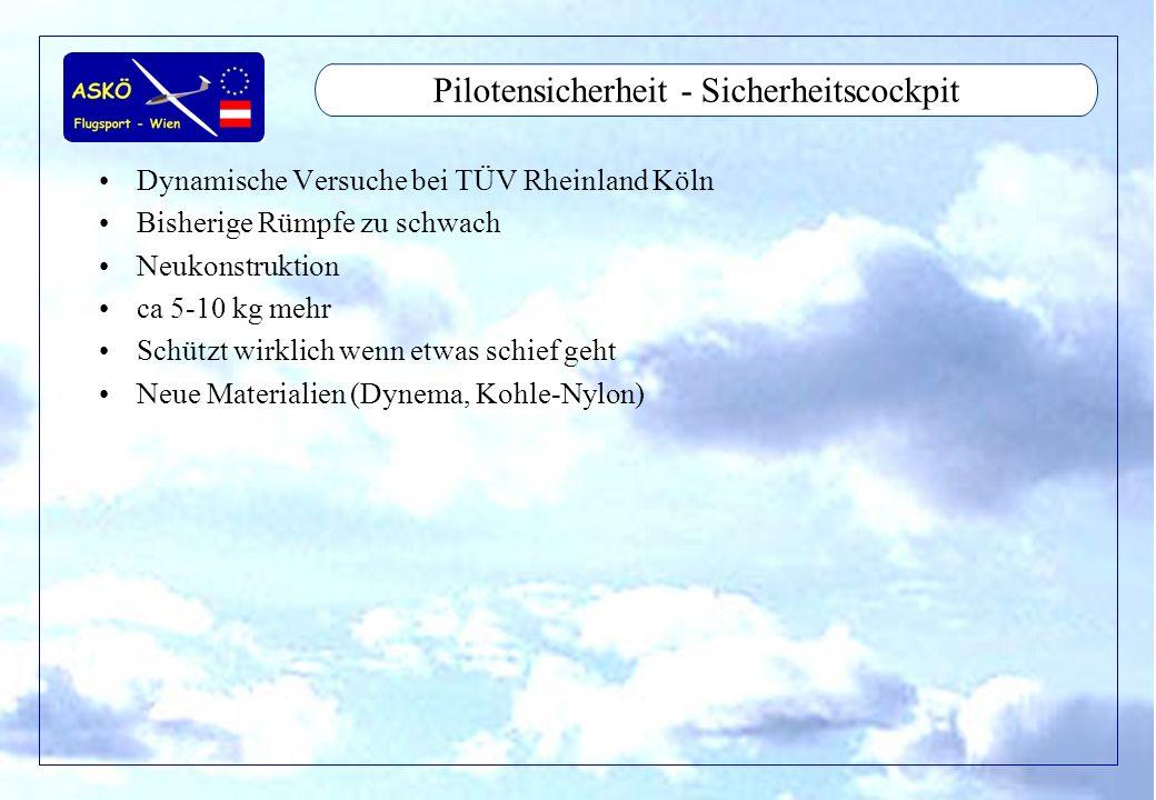 11/2001by Andreas Winkler10 Pilotensicherheit - Sicherheitscockpit Dynamische Versuche bei TÜV Rheinland Köln Bisherige Rümpfe zu schwach Neukonstrukt