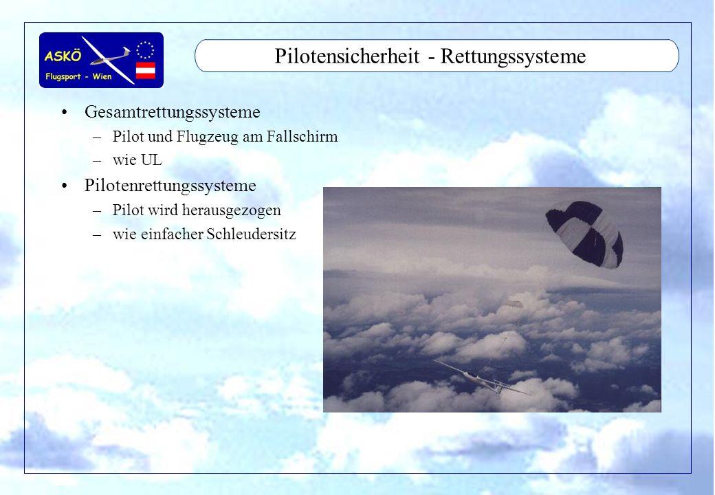 11/2001by Andreas Winkler15 Pilotensicherheit - Rettungssysteme Gesamtrettungssysteme –Pilot und Flugzeug am Fallschirm –wie UL Pilotenrettungssysteme