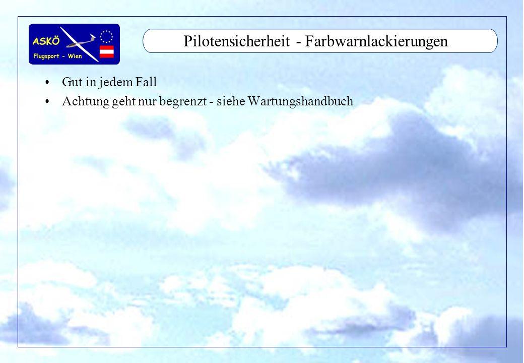11/2001by Andreas Winkler16 Pilotensicherheit - Farbwarnlackierungen Gut in jedem Fall Achtung geht nur begrenzt - siehe Wartungshandbuch