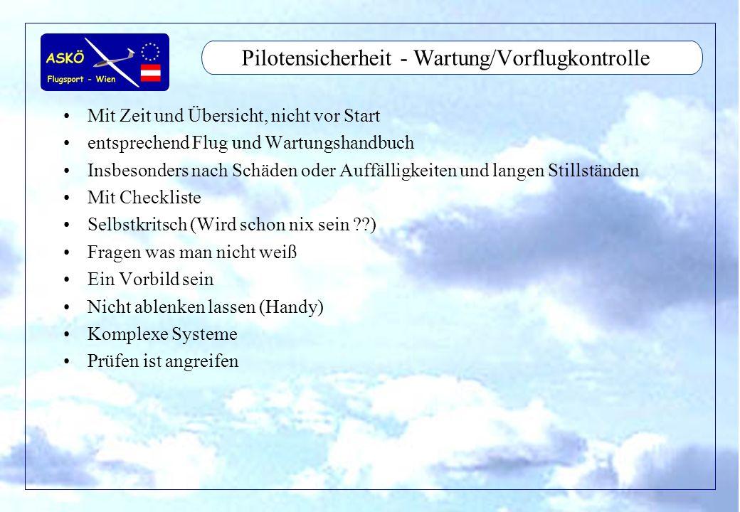 11/2001by Andreas Winkler3 Pilotensicherheit - Wartung/Vorflugkontrolle Mit Zeit und Übersicht, nicht vor Start entsprechend Flug und Wartungshandbuch