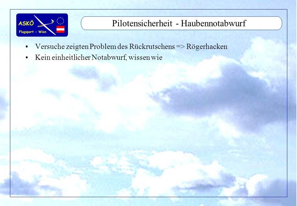 11/2001by Andreas Winkler4 Pilotensicherheit - Haubennotabwurf Versuche zeigten Problem des Rückrutschens => Rögerhacken Kein einheitlicher Notabwurf,